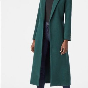 Green Polyester Wrap coat with pockets
